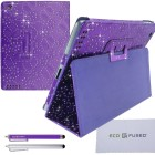 Apple iPad 2/3/4 Bling Purple Leather Case with Sparkling Rhinestone Flowers