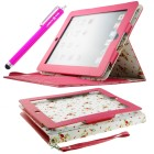 Apple iPad 2/3/4 Faux Leather Case with Floral Interior and Smart Cover