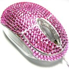 USB Optical Computer Mouse with Pink Crystal Bling Rhinestone