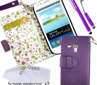 Samsung Galaxy S3 Mini Floral Wallet Case plus Accessories