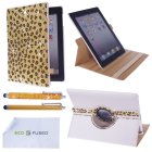 iPad Case Bundle including 1 Rotating PU Leather Case with Rhinestones Compatible – Apple iPad 4, iPad 3, iPad 2